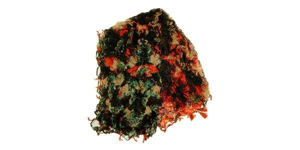 Dámska oranžovo-zelená vzorovaná šatka Fraas