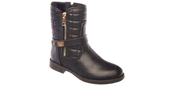 Dámske čierne prešívané topánky so zipsami Keddo