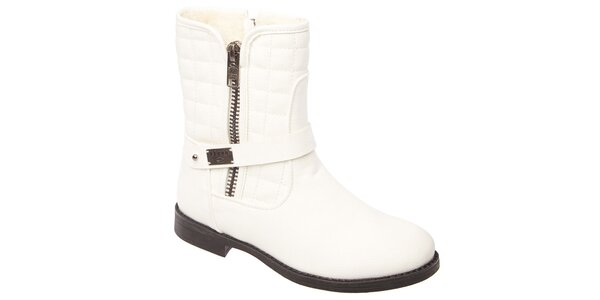 Dámske biele prešívané topánky so zipsami Keddo