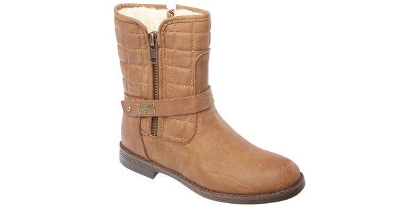 Dámske svetlo hnedé prešívané topánky so zipsami Keddo