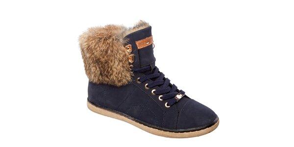Dámske modré členkové topánky s kožušinou Keddo