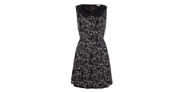 Dámske čierne šaty s potlačou sovičiek Yumi