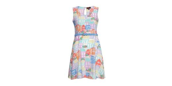 Dámske farebné šaty s domčekmi Yumi