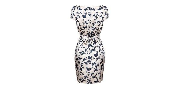 Dámske svetlo béžové šaty s motýlikmi Yumi
