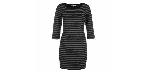 Dámske čierne šaty s šedými prúžkami Yumi
