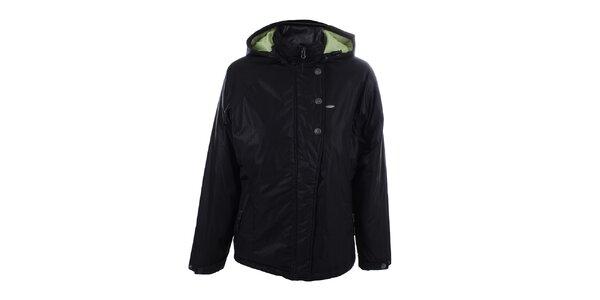 Dámska čierna vzorovaná bunda s kapucňou Joluvi
