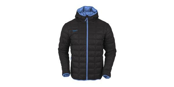 Pánska čierna prešívaná bunda s tmavo modrým zipsom Izas