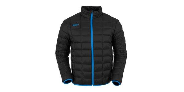 Pánska čierna prešívaná bunda s tmavo modrými prvkami Izas