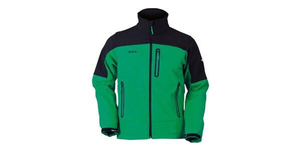 Pánska čierno-zelená bunda na zips Izas