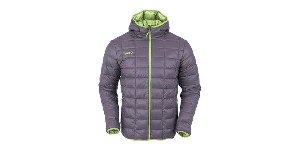 Pánska tmavo šedá prešívaná bunda s limetkovo zeleným zipsom Izas