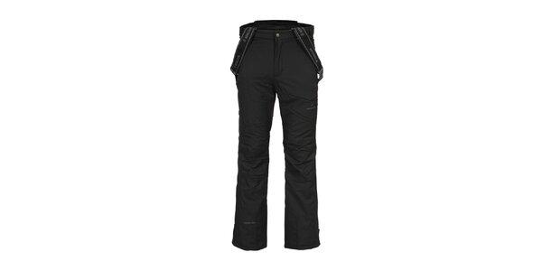 Pánske čierne lyžiarske nohavice s trakmi Bergson