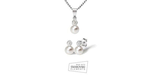 Dámska sada strieborných šperkov Swarovski Elements - náušnice a náhrdelník