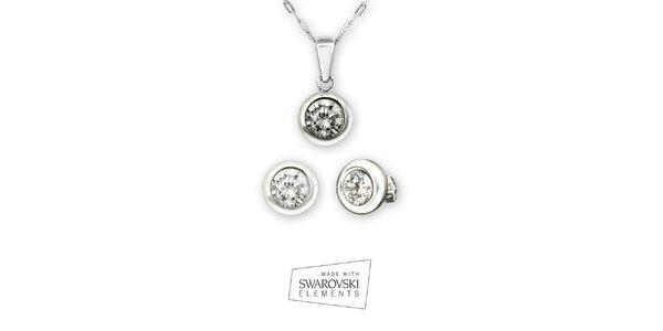 Dámsky set strieborného náhrdelníka a náušníc Swarovski Elements