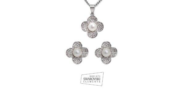 Set náhrdelníka a náušníc s perličkami Swarovski Elements