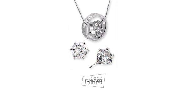 Set náhrdelníka s trblietavými náušnicami Swarovski Elements