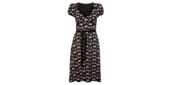 Dámske čierne kvetované šaty Vive Maria