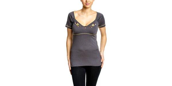 Dámske šedé tričko s výšivkou na dekolte Vive Maria