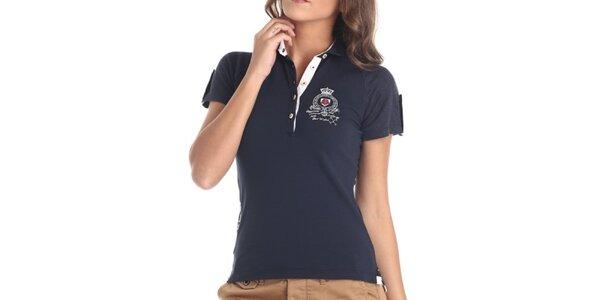 Dámske tmavo modré tričko s výšivkou Galvanni