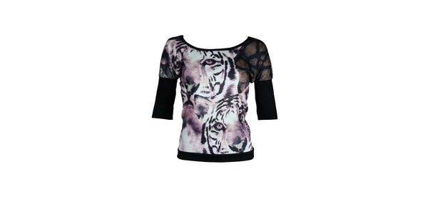Dámsky čierno-fialový top Smash s tigrami