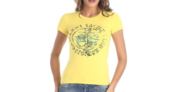Dámske žlté tričko s kotvou Galvanni
