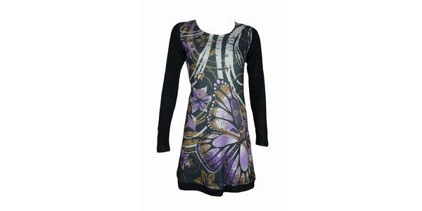 Dámske čierne šaty Smash s fialovými kvetmi