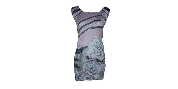 Dámske šedomodré šaty Smash s ružami
