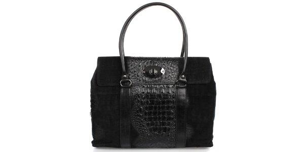 Dámska čierna kabelka s kovovým zámkom Gorétt