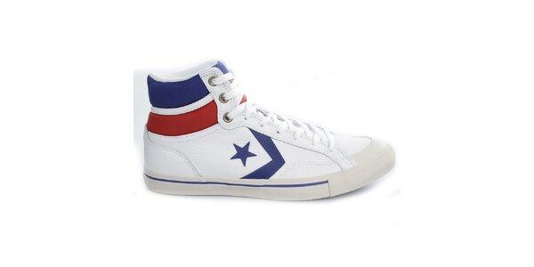 Bielo-červeno-modré členkové tenisky Converse