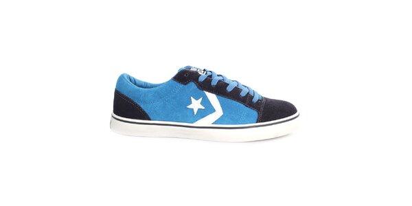 Modré tenisky s čiernymi a bielymi prvkami Converse