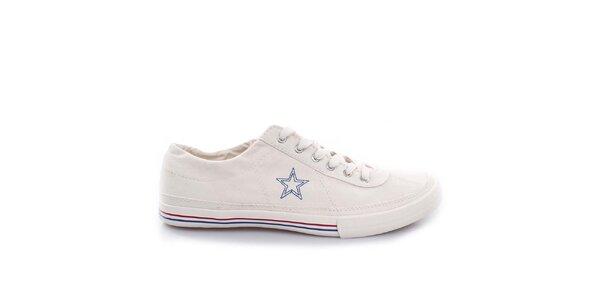 Smotanové nízke tenisky s modrou hviezdou Converse