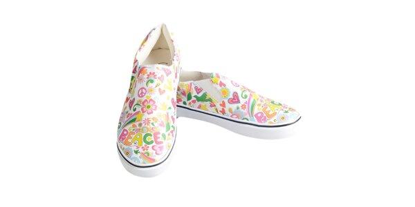 Dámske farebné topánky s mierovým posolstvom The Bees