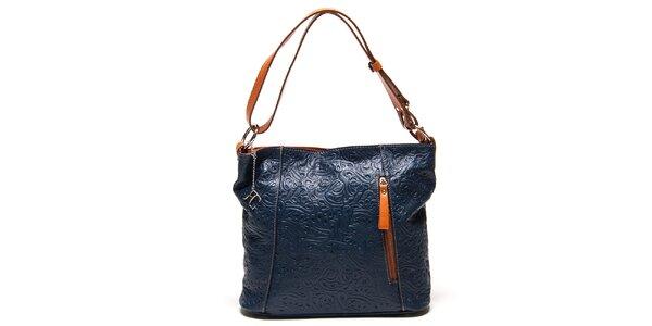 Dámska modrá kabelka s reliéfnym vzorom Renata Corsi