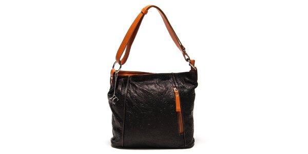 Dámska čierna kabelka s reliéfnym vzorom Renata Corsi