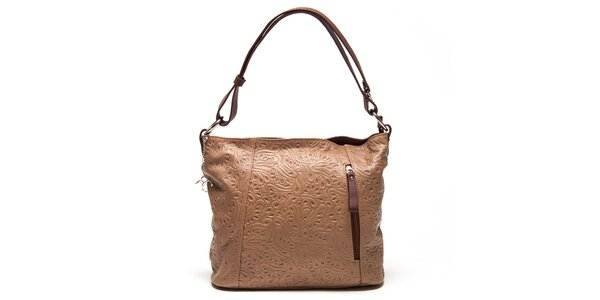 Dámska krémová kabelka s reliéfnym vzorom Renata Corsi