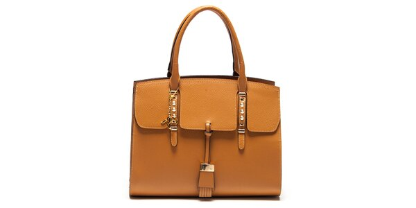 Dámska koňaková kabelka z kože s kovovými detailmi Renata Corsi