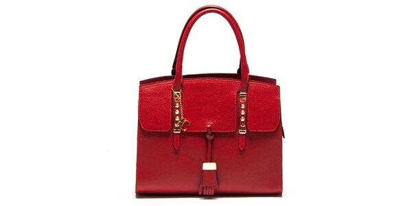 Dámska červená kabelka z kože s kovovými detailmi Renata Corsi