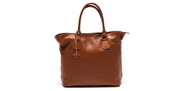 Dámska koňakovo hnedá kabelka s bočnými zipsami Renata Corsi