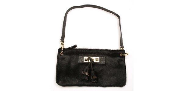 Dámska čierna listová kabelka so strapcami Acosta