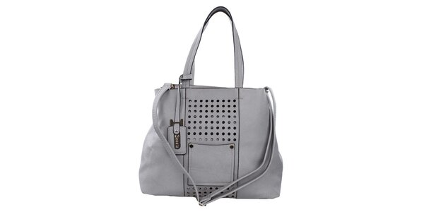 Dámska šedá kabelka s perforáciou Bessie