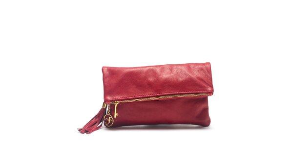 Dámska červená kožená kabelka do ruky Carla Ferreri