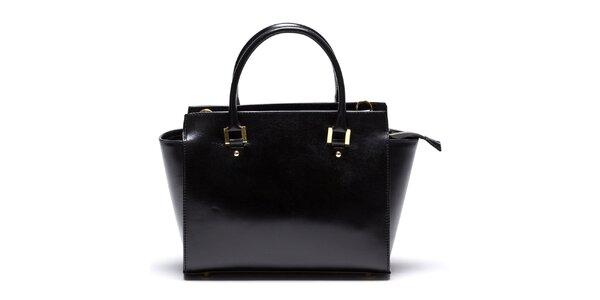 Dámska kožená čierna kabelka so zipsovým vreckom Mangotti