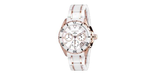 Dámske bielo-ružové keramické hodinky Lancaster