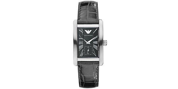 Dámske čierne hodinky s chronografom Emporio Armani