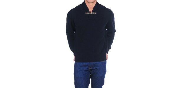 Pánsky tmavo modrý vlnený sveter Hackett London s golierom