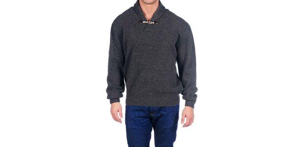 Pánsky šedý vlnený sveter Hackett London s golierom