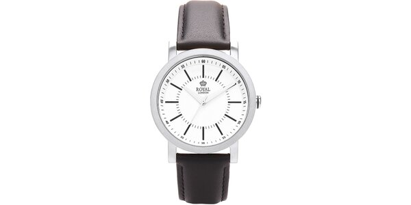 Guľaté strieborné analogové hodinky Royal London
