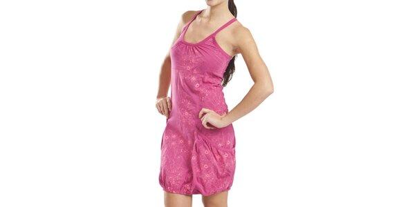 Dámske ružové šaty s kvetinovou potlačou Alpine Pro