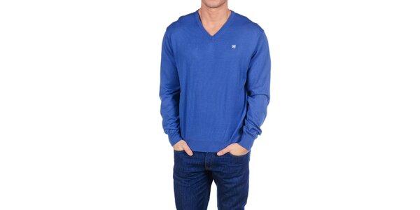 Pánsky žiarivo modrý sveter Hackett London