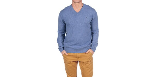 Pánsky pastelove modrý vlnený sveter Hackett London