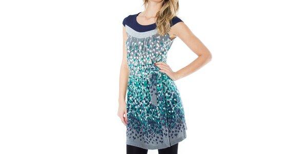 Dámske šedé šaty s farebnými lístkami First
